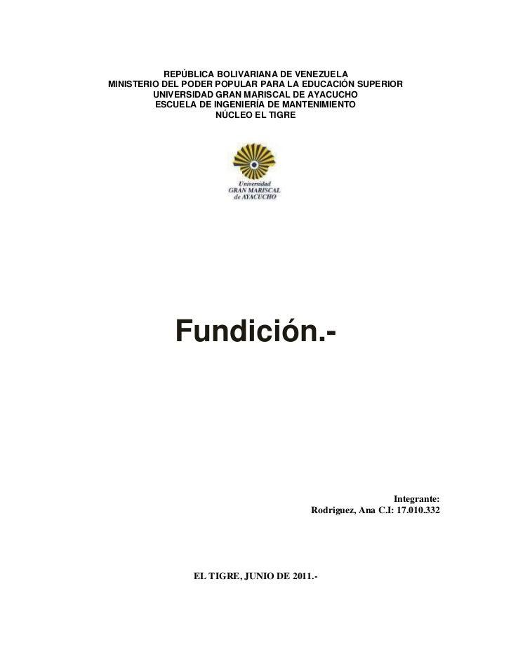 REPÚBLICA BOLIVARIANA DE VENEZUELA<br />MINISTERIO DEL PODER POPULAR PARA LA EDUCACIÓN SUPERIOR<br />UNIVERSIDAD GRAN MARI...