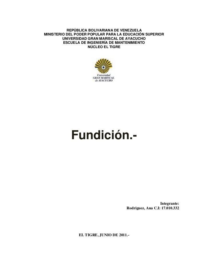 REPÚBLICA BOLIVARIANA DE VENEZUELAMINISTERIO DEL PODER POPULAR PARA LA EDUCACIÓN SUPERIOR         UNIVERSIDAD GRAN MARISCA...