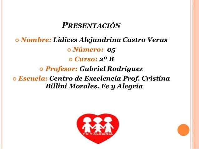 PRESENTACIÓN  Nombre: Lidices Alejandrina Castro Veras  Número: 05  Curso: 2º B  Profesor: Gabriel Rodríguez  Escuela...