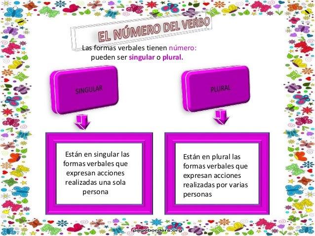 Las formas verbales informan sobre la persona que realiza la acci�n: primera, segunda o tercera persona Pueden ir acompa�a...