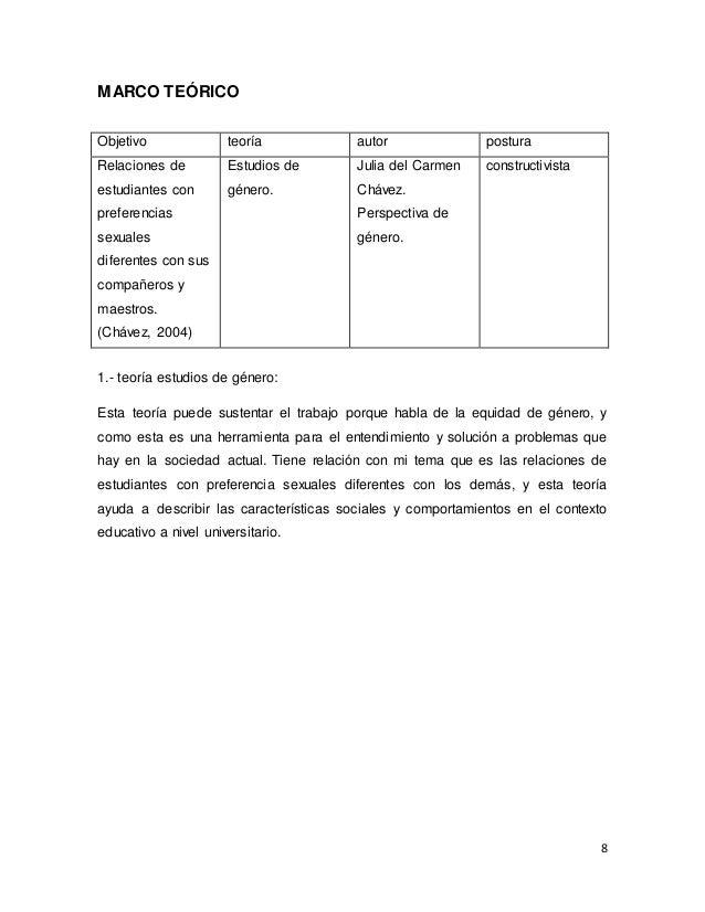 8 MARCO TEÓRICO Objetivo teoría autor postura Relaciones de estudiantes con preferencias sexuales diferentes con sus compa...