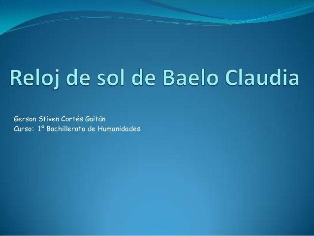 Gerson Stiven Cortés GaitánCurso: 1º Bachillerato de Humanidades