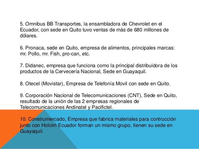 5. Omnibus BB Transportes, la ensambladora de Chevrolet en elEcuador, con sede en Quito tuvo ventas de más de 680 millones...