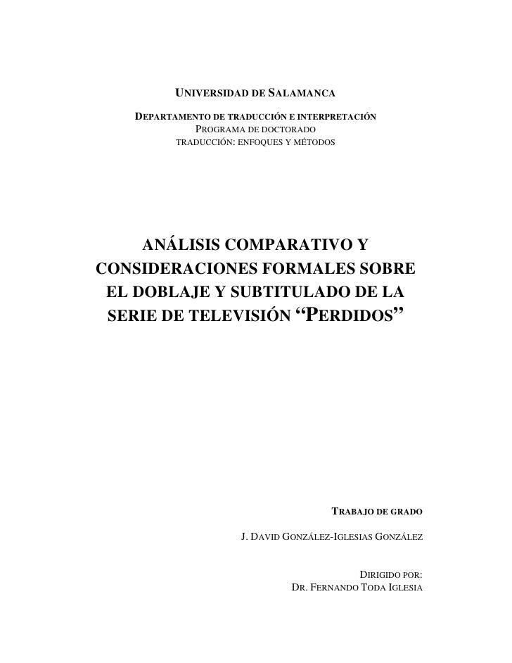 UNIVERSIDAD DE SALAMANCA   DEPARTAMENTO DE TRADUCCIÓN E INTERPRETACIÓN             PROGRAMA DE DOCTORADO          TRADUCCI...