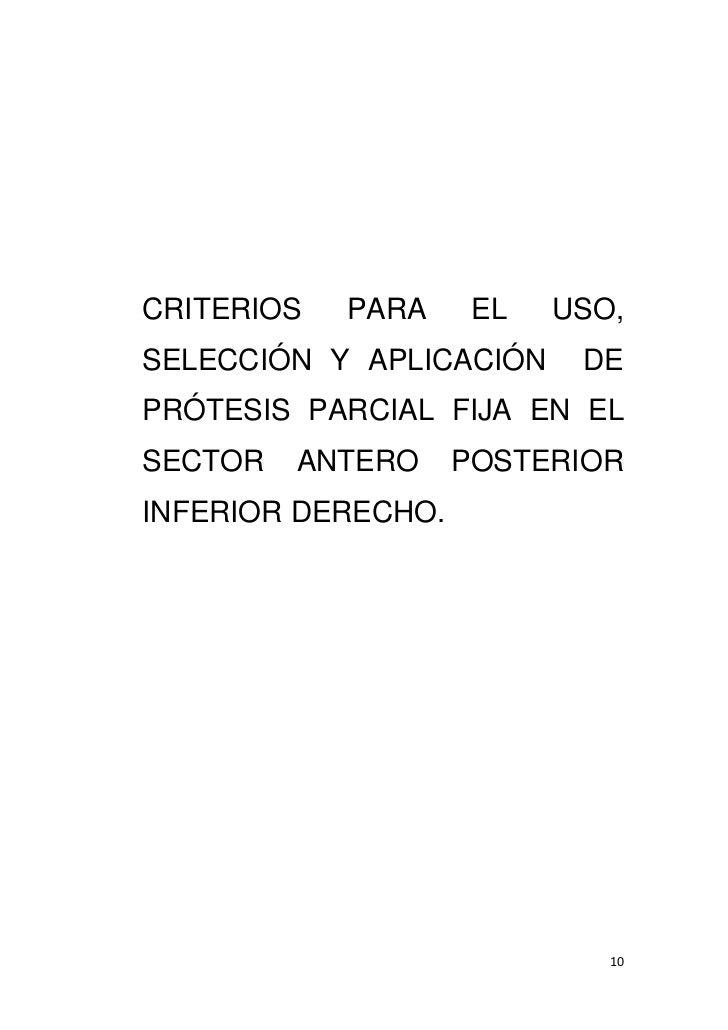 Criterios para el uso seleccion y aplicacion de protesis