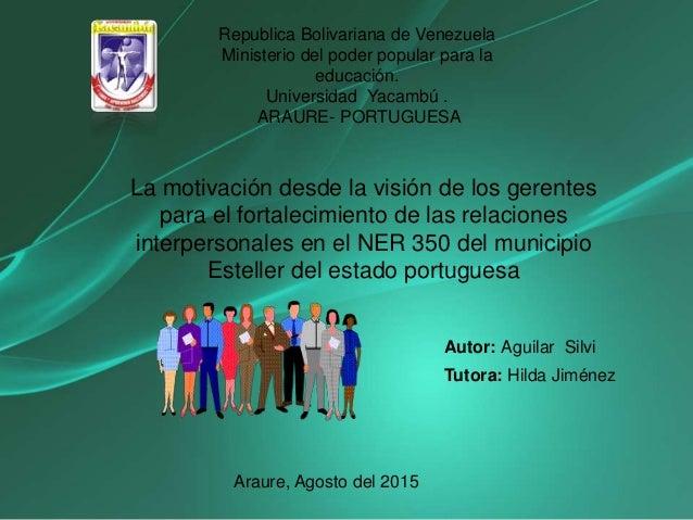 Republica Bolivariana de Venezuela Ministerio del poder popular para la educación. Universidad Yacambú . ARAURE- PORTUGUES...