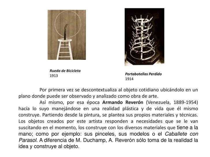Rueda de Bicicleta<br />1913<br />Portabotellas Perdido<br />1914<br />Por primera vez se descontextualiza al objeto cotid...
