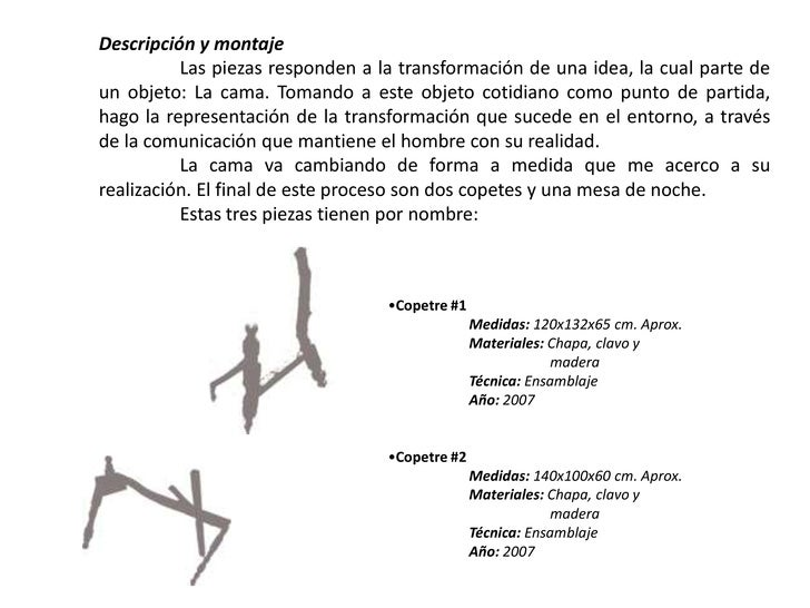 Descripción y montaje<br />Las piezas responden a la transformación de una idea, la cual parte de un objeto: La cama. Tom...