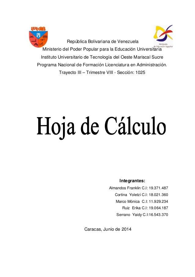 Trabajo de hoja de calculo