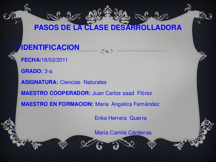PASOS DE LA CLASE DESARROLLADORA<br />IDENTIFICACION<br /><ul><li>FECHA:18/02/2011