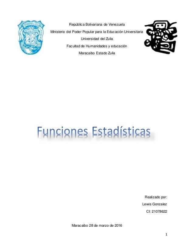 1 República Bolivariana de Venezuela Ministerio del Poder Popular para la Educación Universitaria Universidad del Zulia Fa...