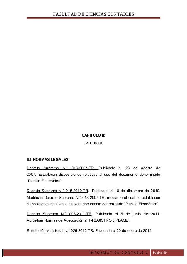 FACULTAD DE CIENCIAS CONTABLES                                CAPITULO II:                                   PDT 0601II.I ...