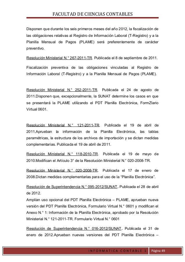 FACULTAD DE CIENCIAS CONTABLESDisponen que durante los seis primeros meses del año 2012, la fiscalización delas obligacion...