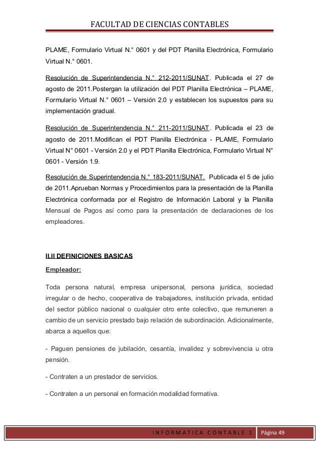 FACULTAD DE CIENCIAS CONTABLESPLAME, Formulario Virtual N.° 0601 y del PDT Planilla Electrónica, FormularioVirtual N.° 060...
