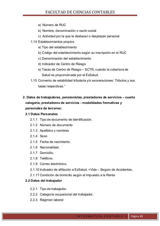 FACULTAD DE CIENCIAS CONTABLES         a) Número de RUC         b) Nombre, denominación o razón social         c) Activida...