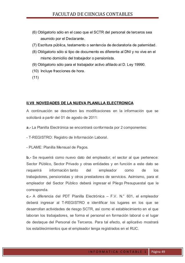 FACULTAD DE CIENCIAS CONTABLES   (6) Obligatorio sólo en el caso que el SCTR del personal de terceros sea          asumido...
