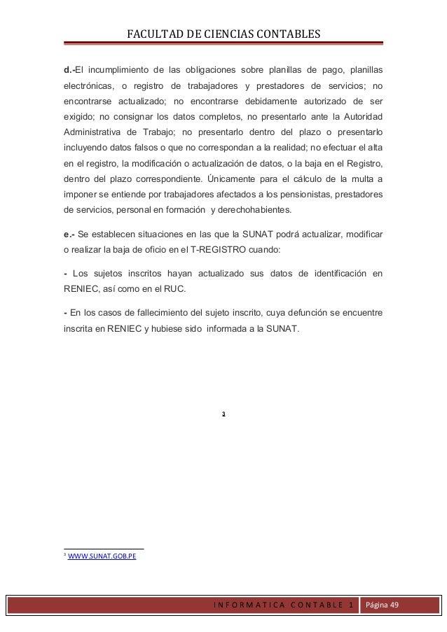 FACULTAD DE CIENCIAS CONTABLESd.-El incumplimiento de las obligaciones sobre planillas de pago, planillaselectrónicas, o r...
