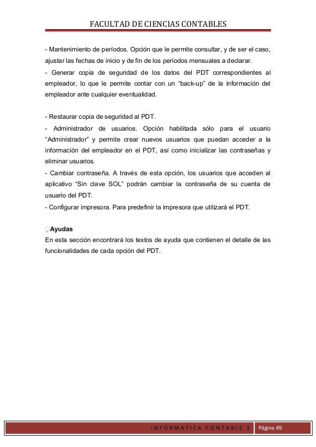 FACULTAD DE CIENCIAS CONTABLES- Mantenimiento de períodos. Opción que le permite consultar, y de ser el caso,ajustar las f...