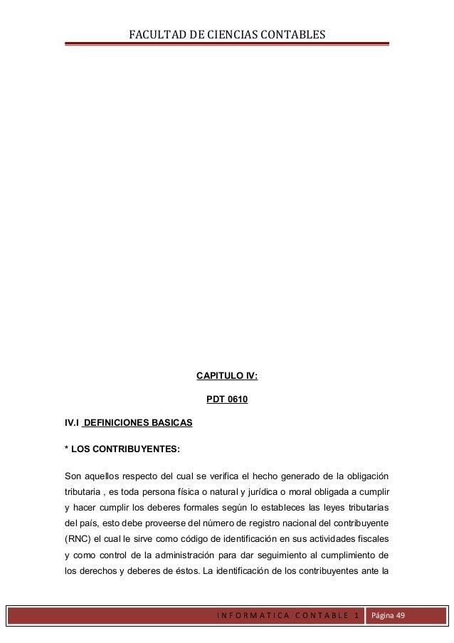 FACULTAD DE CIENCIAS CONTABLES                                 CAPITULO IV:                                    PDT 0610IV....