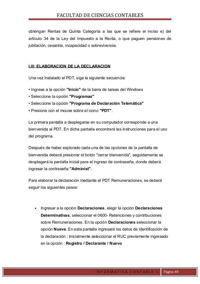 FACULTAD DE CIENCIAS CONTABLESobtengan Rentas de Quinta Categoría a las que se refiere el inciso e) delartículo 34 de la L...