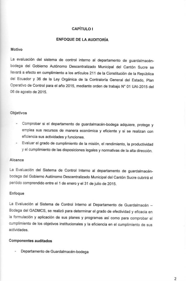 CAPÍTULO l  ENFOOUE DE LA AUDITORÍA  . '.'. otivo  ; .a evaluación del sistema de control interno al departamento de guard...