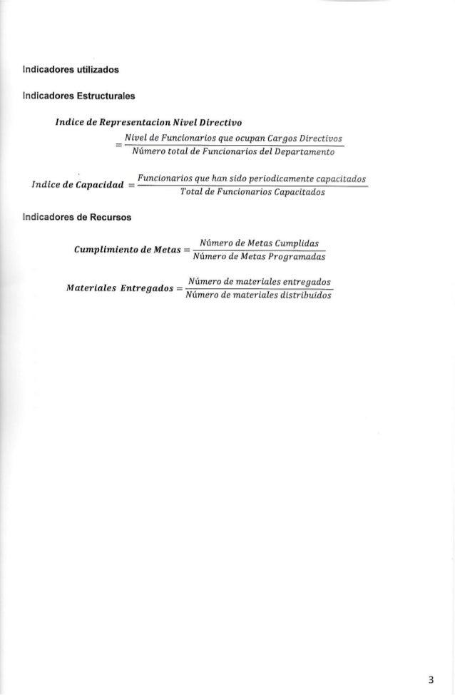 Indicadores utilizados Indicadores Estructurales  Indíce de Representacian N ível Directivo  N ível de F uncionarios que o...
