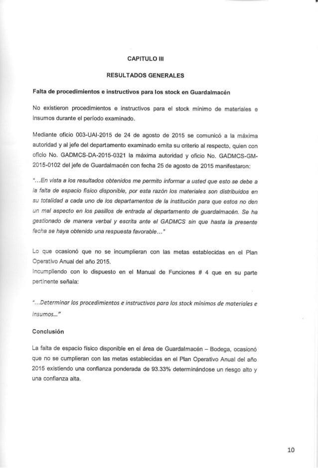 CAPITULO III RESULTADOS GENERALES Falta de procedimientos e instructivos para Ios stock en Guardalmacén  No existieron pro...