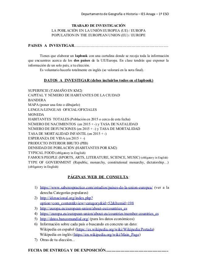Departamento de Geografía e Historia – IES Anaga – 1º ESO TRABAJO DE INVESTIGACIÓN LA POBLACIÓN EN LA UNIÓN EUROPEA (UE) /...