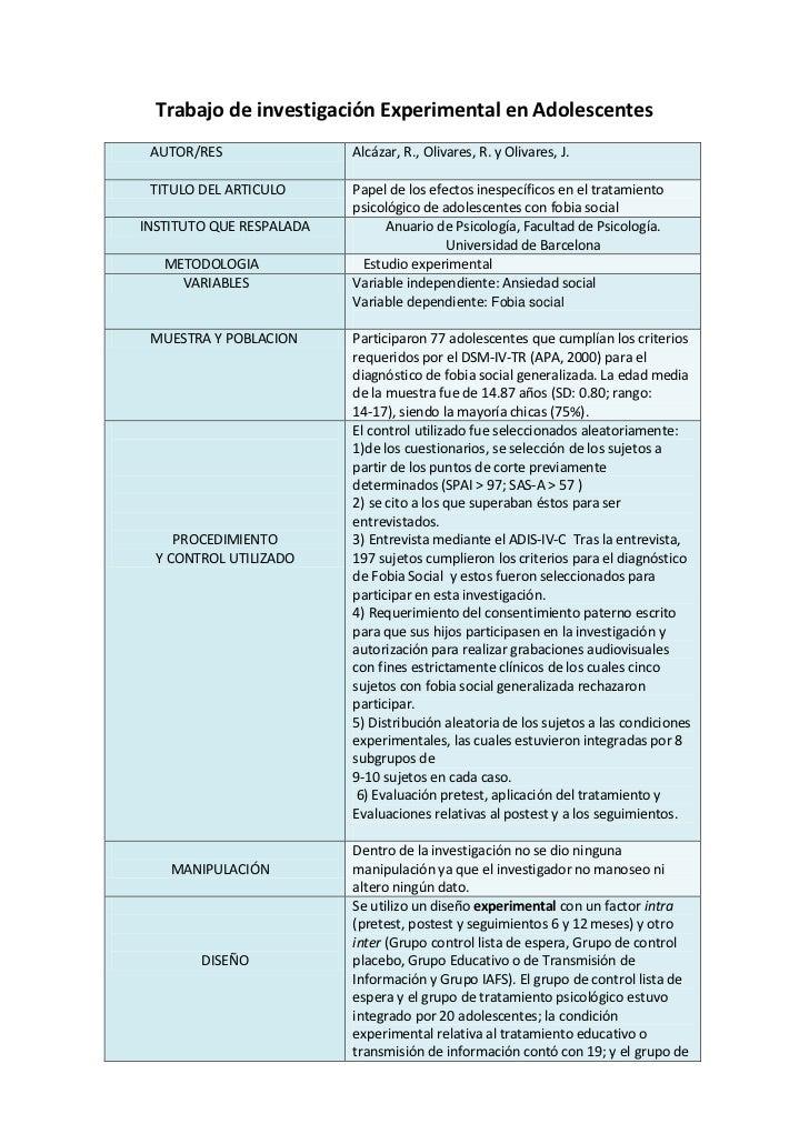 Trabajo de investigación Experimental en Adolescentes<br />AUTOR/RESAlcázar, R., Olivares, R. y Olivares, J.TITULO DEL ART...