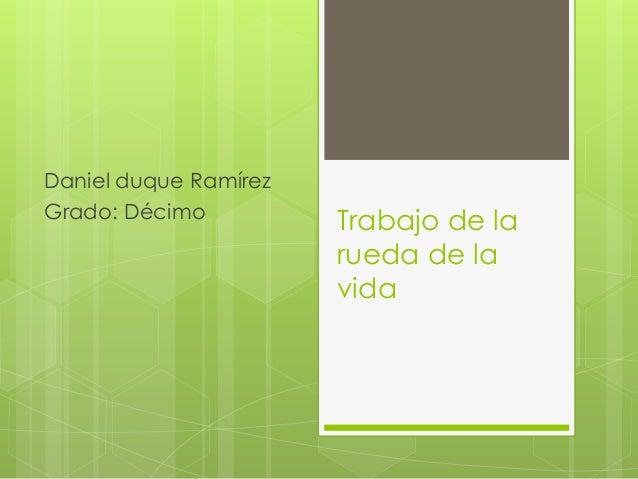 Trabajo de la rueda de la vida Daniel duque Ramírez Grado: Décimo