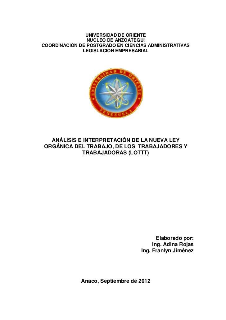 UNIVERSIDAD DE ORIENTE                NUCLEO DE ANZOATEGUICOORDINACIÓN DE POSTGRADO EN CIENCIAS ADMINISTRATIVAS           ...