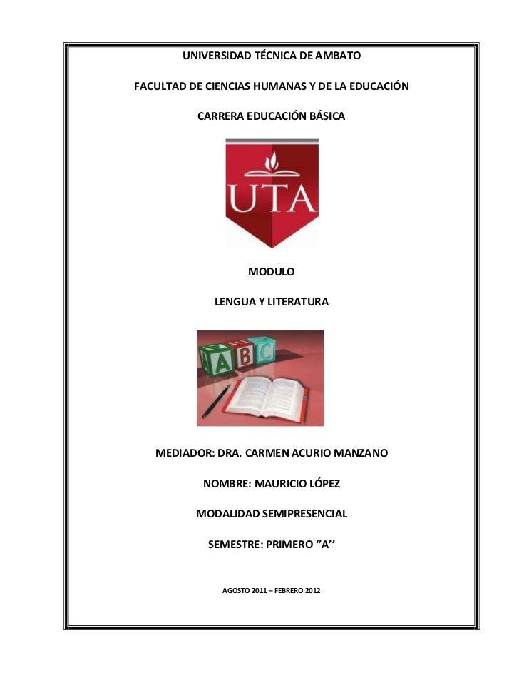 UNIVERSIDAD TÉCNICA DE AMBATOFACULTAD DE CIENCIAS HUMANAS Y DE LA EDUCACIÓN          CARRERA EDUCACIÓN BÁSICA             ...