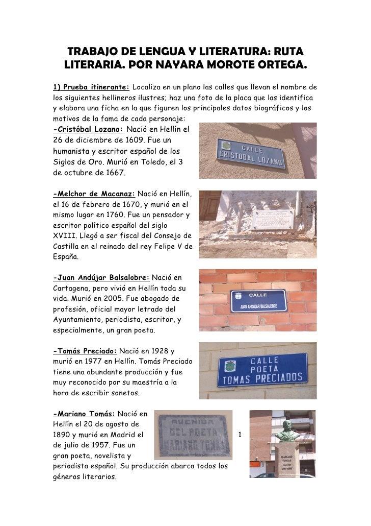 TRABAJO DE LENGUA Y LITERATURA: RUTA   LITERARIA. POR NAYARA MOROTE ORTEGA.1) Prueba itinerante: Localiza en un plano las ...