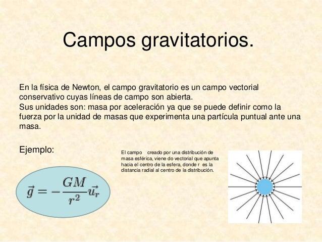 Campos gravitatorios. En la física de Newton, el campo gravitatorio es un campo vectorial conservativo cuyas líneas de cam...