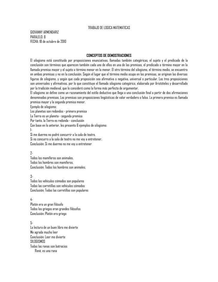 TRABAJO DE LOGICA MATEMATICAS GIOVANNY ARMENDARIZ PARALELO: B FECHA: 18 de octubre de 2010                                ...