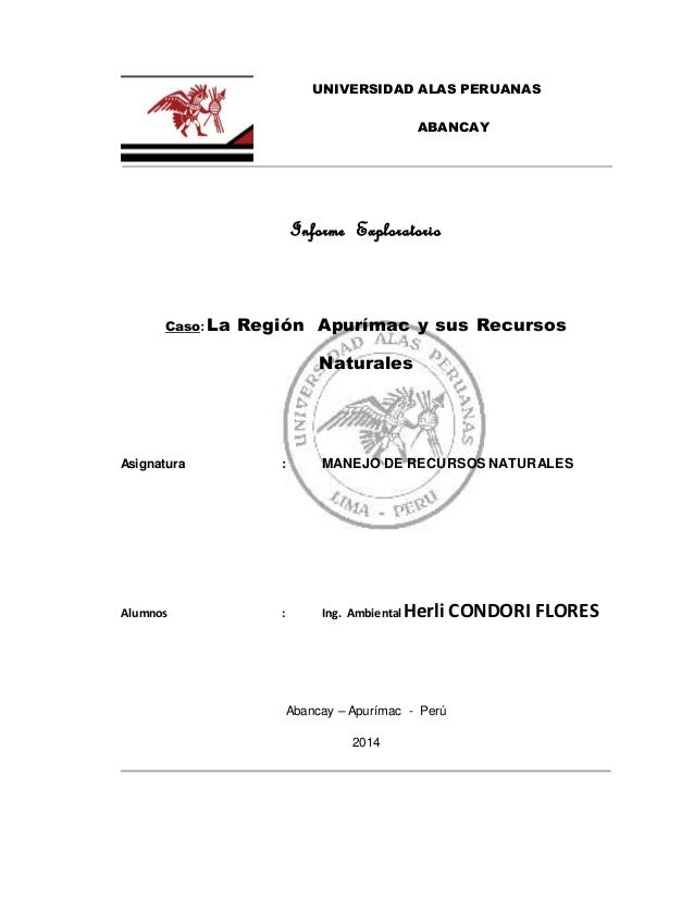 UNIVERSIDAD ALAS PERUANAS ABANCAY Informe Exploratorio Caso: La Región Apurímac y sus Recursos Naturales Asignatura : MANE...