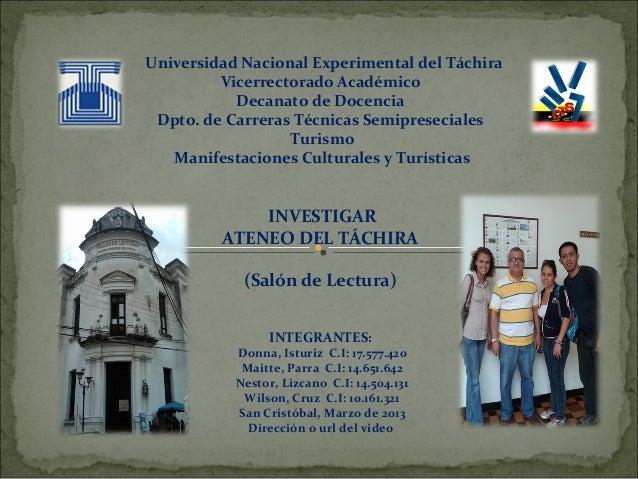 Universidad Nacional Experimental del Táchira         Vicerrectorado Académico           Decanato de Docencia Dpto. de Car...
