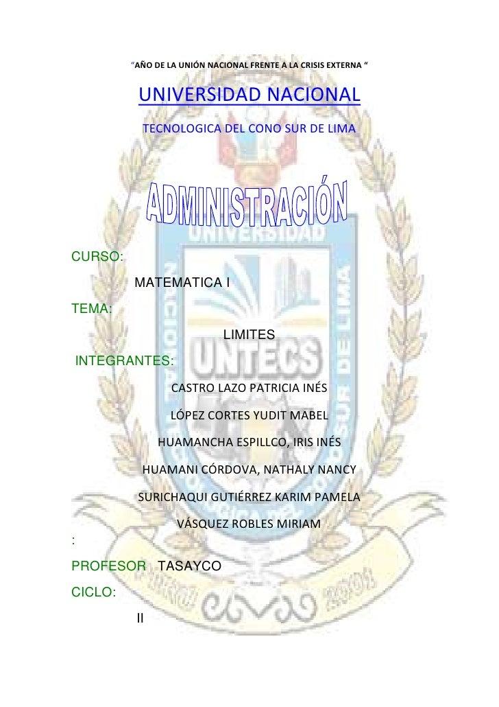 """5715-76835""""AÑO DE LA UNIÓN NACIONAL FRENTE A LA CRISIS EXTERNA """"<br />UNIVERSIDAD NACIONAL<br />TECNOLOGICA DEL CONO SUR D..."""