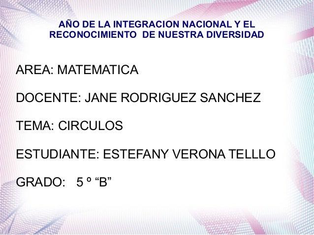 AÑO DE LA INTEGRACION NACIONAL Y EL    RECONOCIMIENTO DE NUESTRA DIVERSIDADAREA: MATEMATICADOCENTE: JANE RODRIGUEZ SANCHEZ...
