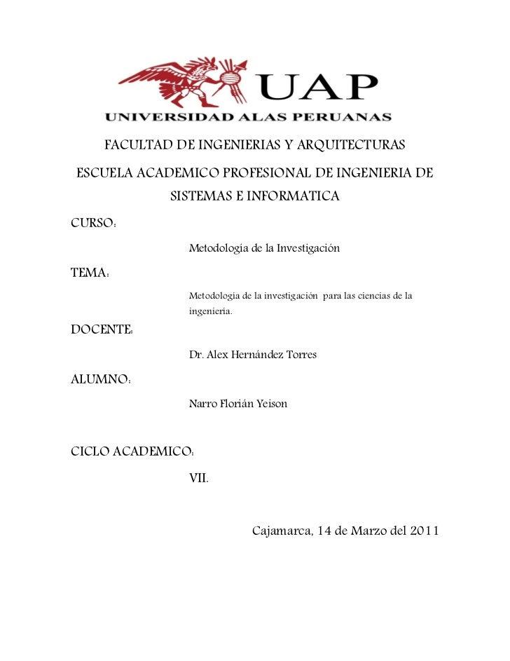 FACULTAD DE INGENIERIAS Y ARQUITECTURASESCUELA ACADEMICO PROFESIONAL DE INGENIERIA DE            SISTEMAS E INFORMATICACUR...