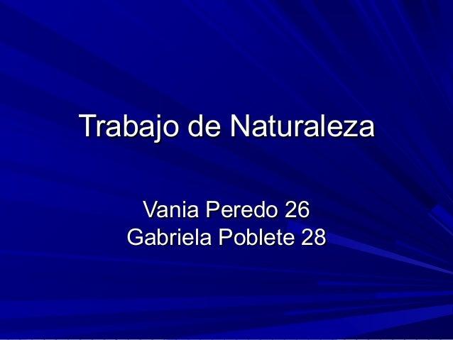 Trabajo de Naturaleza    Vania Peredo 26   Gabriela Poblete 28