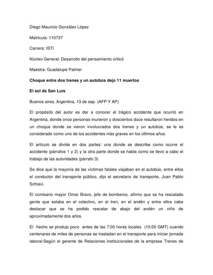 Diego Mauricio González López<br />Matricula: 110737<br />Carrera: ISTI<br />Núcleo General: Desarrollo del pensamiento cr...