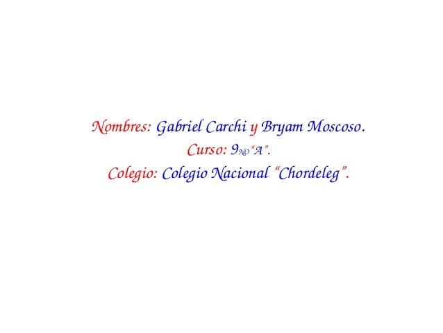 """Nombres:GabrielCarchiyBryamMoscoso.              Curso:9NO""""A"""". Colegio:ColegioNacional""""Chordeleg""""."""