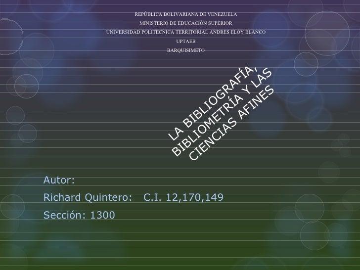 REPÚBLICA BOLIVARIANA DE VENEZUELA                      MINISTERIO DE EDUCACIÓN SUPERIOR           UNIVERSIDAD POLITECNICA...