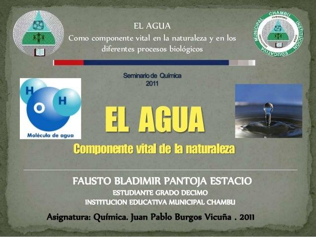 EL AGUA Como componente vital en la naturaleza y en los diferentes procesos biológicos FAUSTO BLADIMIR PANTOJA ESTACIO Asi...