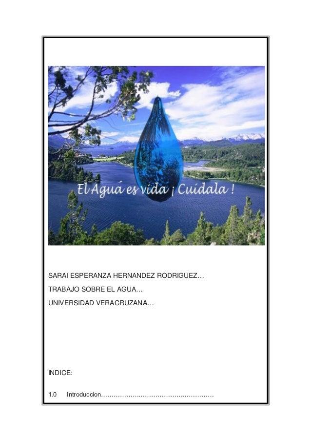 SARAI ESPERANZA HERNANDEZ RODRIGUEZ…TRABAJO SOBRE EL AGUA…UNIVERSIDAD VERACRUZANA…INDICE:1.0   Introduccion………………………………………...