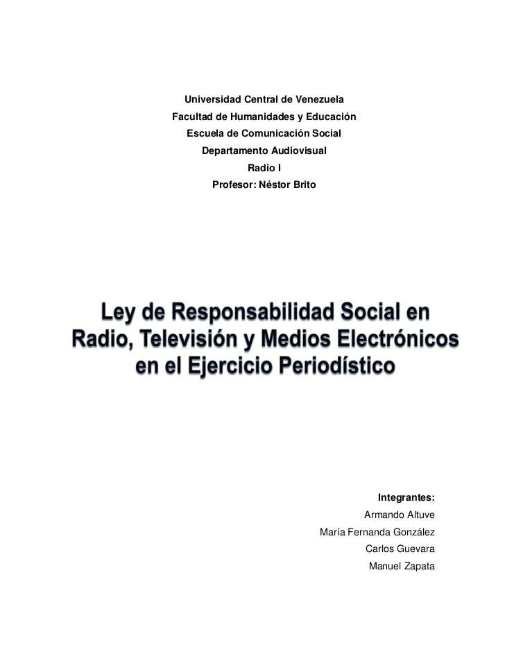 Universidad Central de VenezuelaFacultad de Humanidades y Educación  Escuela de Comunicación Social     Departamento Audio...