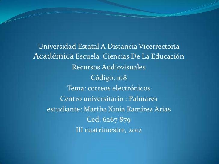 Universidad Estatal A Distancia VicerrectoríaAcadémica Escuela Ciencias De La Educación           Recursos Audiovisuales  ...