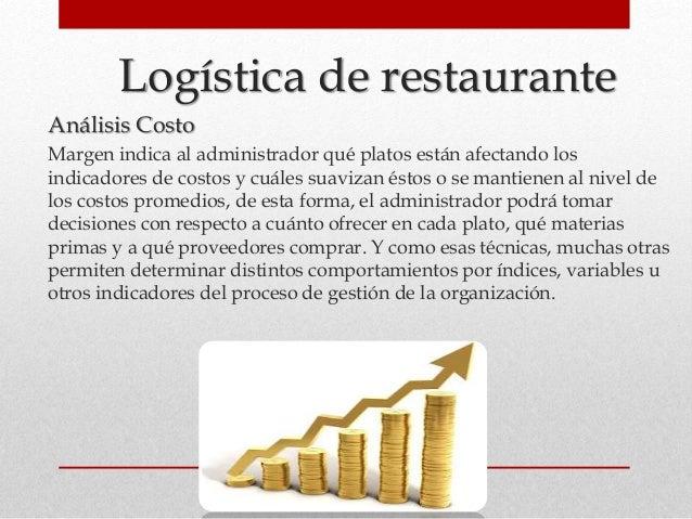 Logística de restaurante Análisis Costo Margen indica al administrador qué platos están afectando los indicadores de costo...