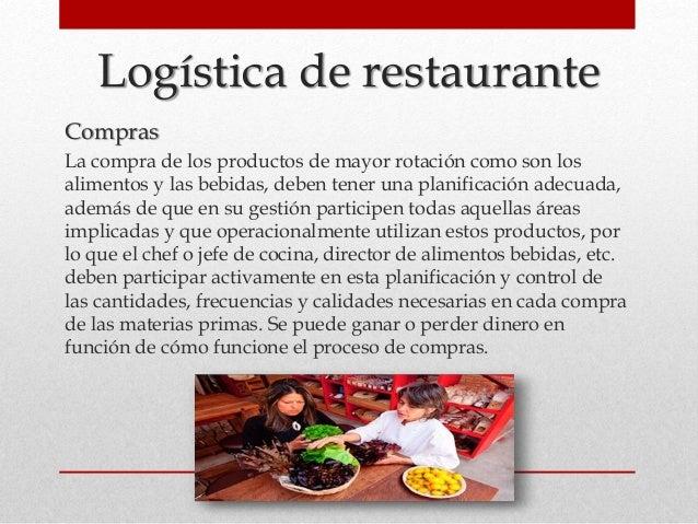 Logística de restaurante Compras La compra de los productos de mayor rotación como son los alimentos y las bebidas, deben ...